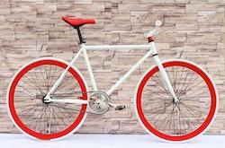 Fixed Gear Cykel vit/röd