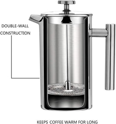 Velaze cafetière kaffe press i rostfritt stål 800ml