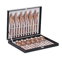 Velaze bestick låda i 24-delar rostfritt stål rosé guld