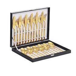 Velaze bestick låda i 24-delar rostfritt stål guld
