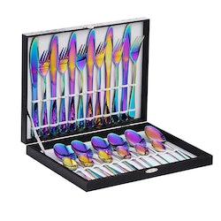 Velaze bestick låda i 48-delar rostfritt stål regnbåge