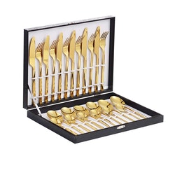 Velaze bestick låda i 48-delar rostfritt stål guld