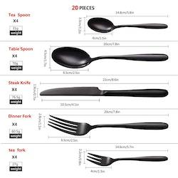 Velaze bestick set i 40-delar rostfritt stål svart