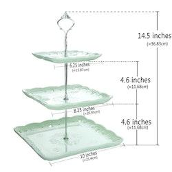 MALACASA 3-vånings kakställning i porslin grön