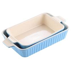 MALACASA ugnsform set 2-delar i porslin kantig blå