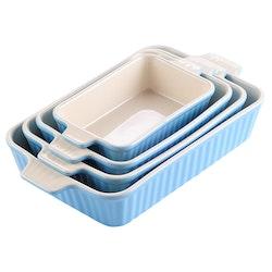MALACASA ugnsform set 4-delar i porslin kantig blå