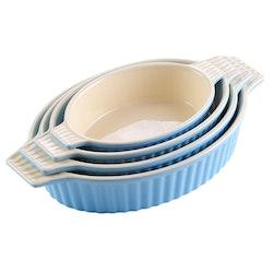 MALACASA ugnsform set 4-delar i porslin oval blå
