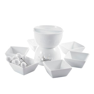 MALACASA 2-delad mini fondue Set för 6 pers i porslin