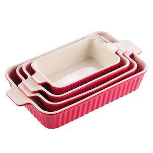 MALACASA ugnsform set 4-delar i porslin kantig röd