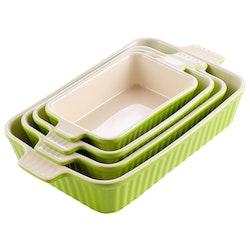 MALACASA ugnsform set 4-delar i porslin kantig grön
