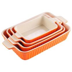 MALACASA ugnsform set 4-delar i porslin kantig orange