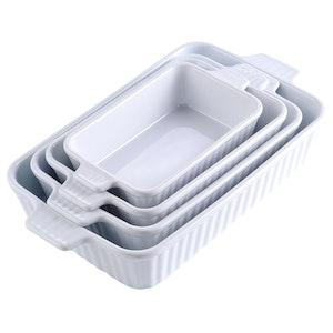 MALACASA ugnsform set 4-delar i porslin kantig grå