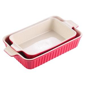 MALACASA ugnsform set 2-delar i porslin kantig röd