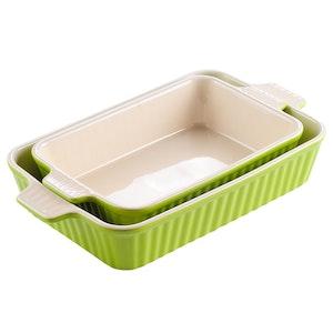 MALACASA ugnsform set 2-delar i porslin kantig grön