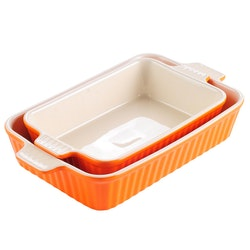 MALACASA ugnsform set 2-delar i porslin kantig orange