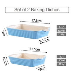 MALACASA ugnsform set 2-delar i porslin kantig grå