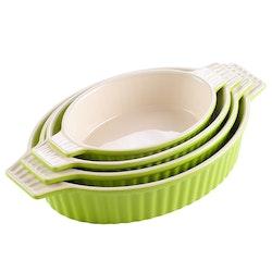 MALACASA ugnsform set 4-delar i porslin oval grön