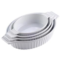 MALACASA ugnsform set 4-delar i porslin oval grå