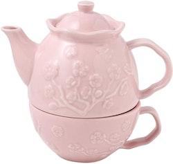 MALACASA Sweet time serien, te-för-en-set 3-delar i porslin rosa