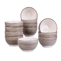 Vancasso Bella serien, skål set 12-delar i keramik creme