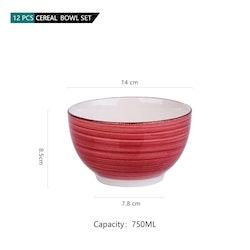 Vancasso Bella serien, skål set 12-delar i keramik röd