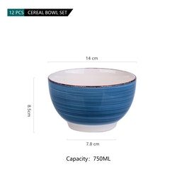 Vancasso Bella serien, skål set 12-delar i keramik blå