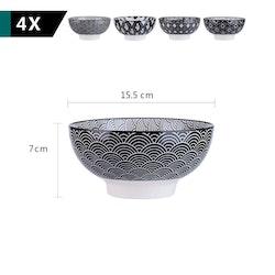 Vancasso Haruka serien, skål set 4-delar i keramik svart