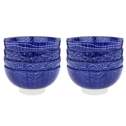 Vancasso TAKAKI serien, skål set 8-delar i keramik blå