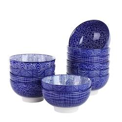 Vancasso TAKAKI serien, skål set 12-delar i keramik blå