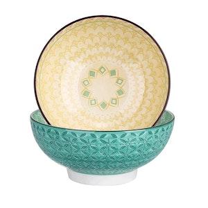 Vancasso Tulip serien, skål set 2-delar i keramik lila/blå