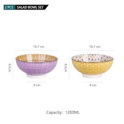 Vancasso Tulip serien, skål set 2-delar i keramik lila/gul