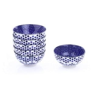 Vancasso japansk design skål set 6-delar i keramik blå