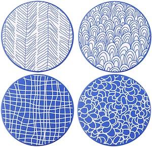 Vancasso TAKAKI serien, stora underlägg 4-delar i keramik blå