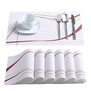 VEWEET BONNIE serien, underlägg 6-delar i vinyl vit