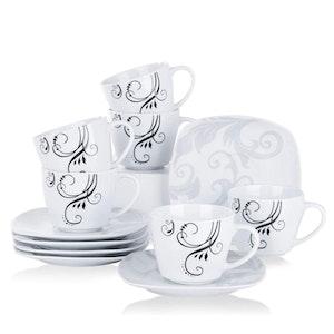 VEWEET ZOEY serien, kopp set 12-delar i porslin vit/svart