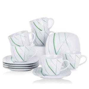VEWEET AVIVA serien, kopp set 12-delar i porslin vit/grön