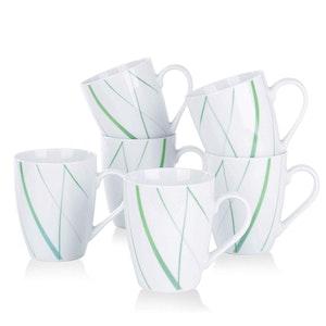 VEWEET AVIVA serien, koppar 6-delar i porslin vit/grön