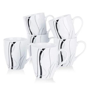 VEWEET FIONA serien, koppar 6-delar i porslin vit/svart