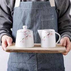 VEWEET ANNIE serien, kanna och sockerskål i porslin vit/blomma