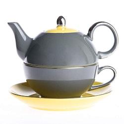 Artvigor, 3-delad te-för-en-set grå/gul