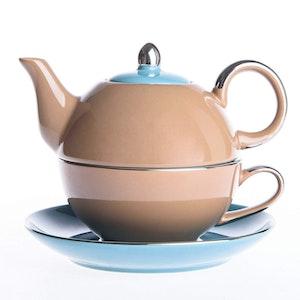 Artvigor, 3-delad te-för-en-set brun/blå