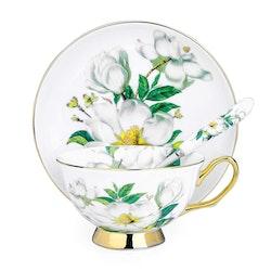 ARTVIGOR Camellia, koppar sked för 4 personer i porslin vit/grön