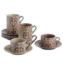 ARTVIGOR, koppar för 6 pers i porslin brun/beige