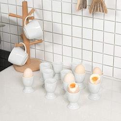 MALACASA Äggkoppar 12-delar i porslin vit
