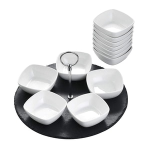 MALACASA serveringstallrik i skiffer svart