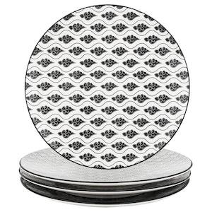 Vancasso Haruka serien, tallrik 4-delar i porslin vit/svart