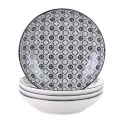 Vancasso Haruka serien, djup tallrik 4-delar i porslin vit/svart