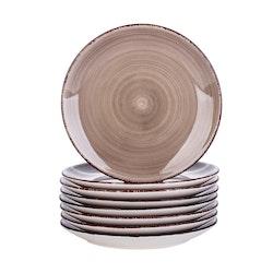 Vancasso Bella serien, tallrik 8-delar i porslin brun