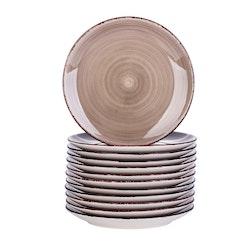 Vancasso Bella serien, tallrik 12-delar i porslin brun