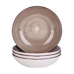 Vancasso Bella serien, djup tallrik 4-delar i porslin brun